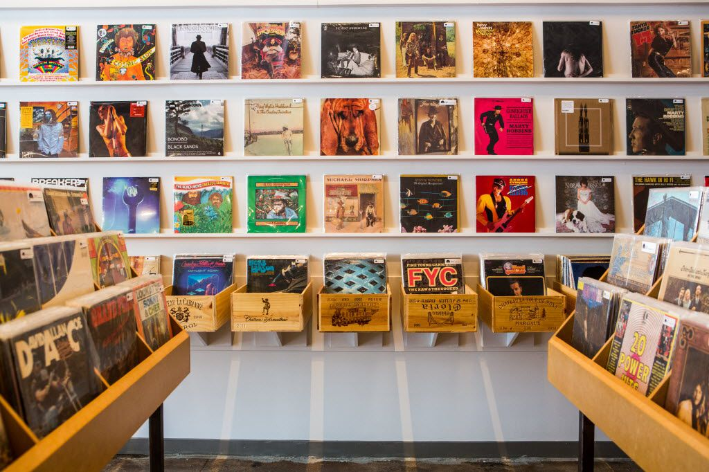 Vinyl albums for sale at Spinster Records in Oak Cliff