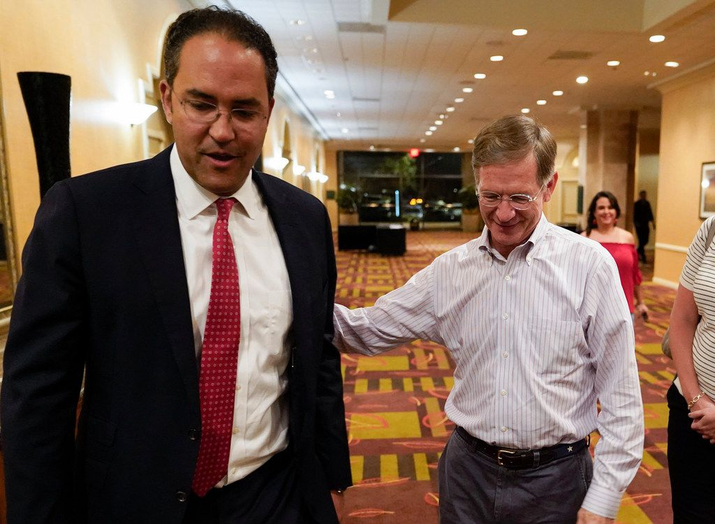 Rep. Lamar Smith, right, has long used his leadership on the House Science, Space and Technology Committee to raise doubts about humans' role in climate change. He's seen in this photo with Rep. Will Hurd, a fellow San Antonio Republican.. (AP Photo/Darren Abate)