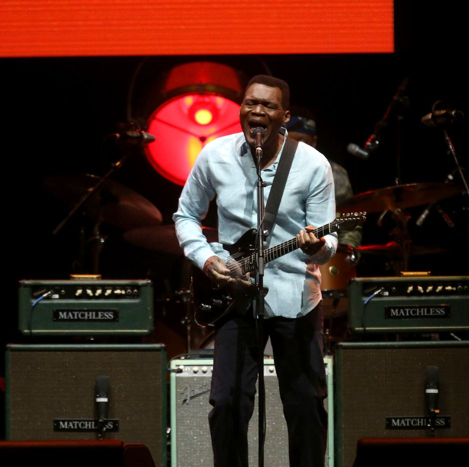 Robert Cray performs at the Crossroads Guitar Festival on Saturday, Sept. 22, 2019 at the American Airlines Center in downtown Dallas. The concert put together by Eric Clapton, which benefits his Crossroads addiction recovery center, took place over two nights with different performers each night. (Michael Hamtil/The Dallas Morning News)
