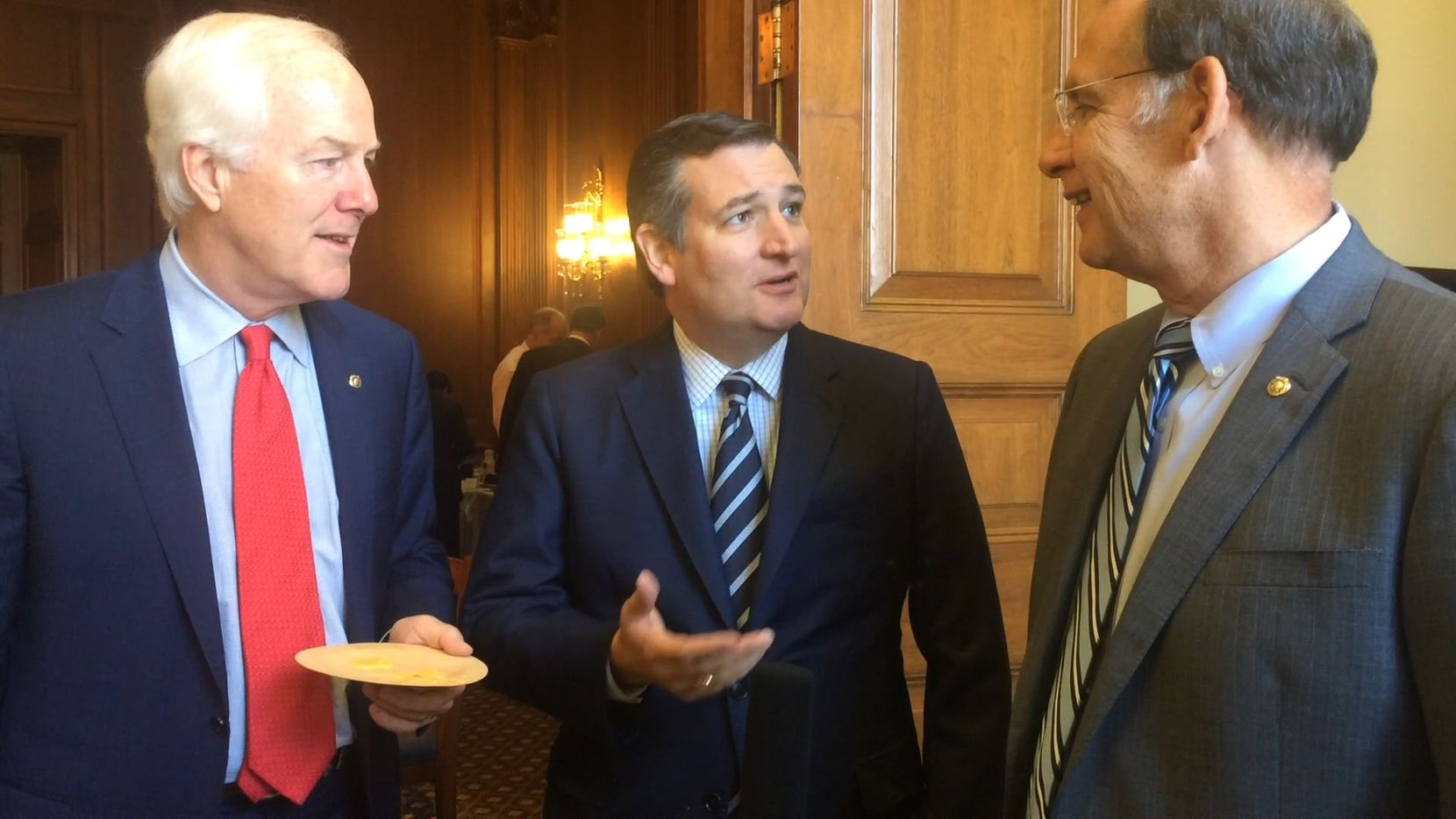 At a cheesy competition on Wednesday, Texas Sens. John Cornyn and Ted Cruz tried to convince their fellow senators that Texas queso is indisputably better than Arkansas cheese dip. (Jordan Rudner / The Dallas Morning News)
