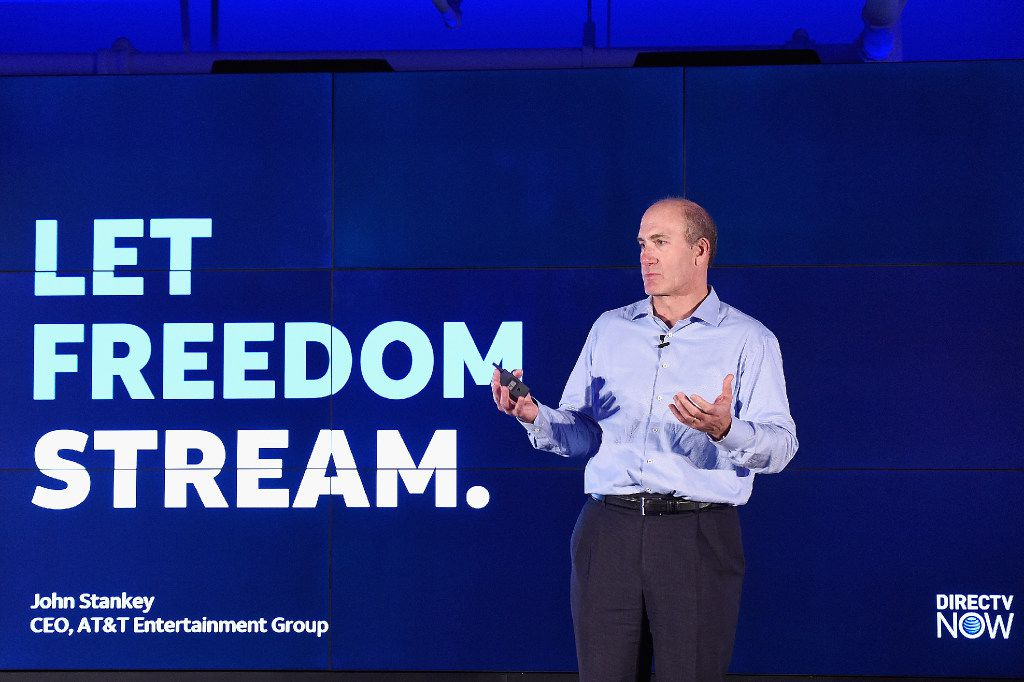 John Stankey, CEO of AT&T Entertainment Group, spoke onstage during AT&T's celebration of the launch of DirecTV Now in November 2016 in New York City.  (Dave Kotinsky/Getty Images)