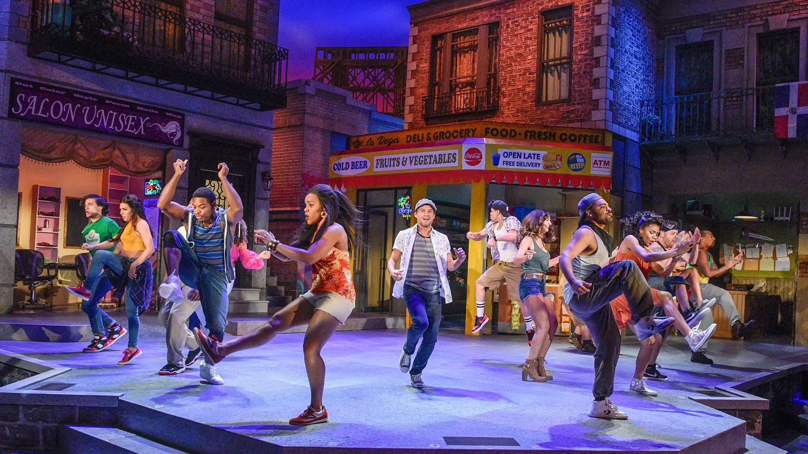 The cast rehearses Dallas Theater Center's production of Lin-Manuel Miranda's musical In the Heights.