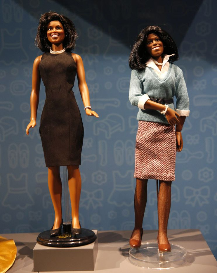 Michelle Obama dolls, part of the Eye of the Collector exhibit at the Perot Museum of Nature and Science in Dallas on April 14, 2016.