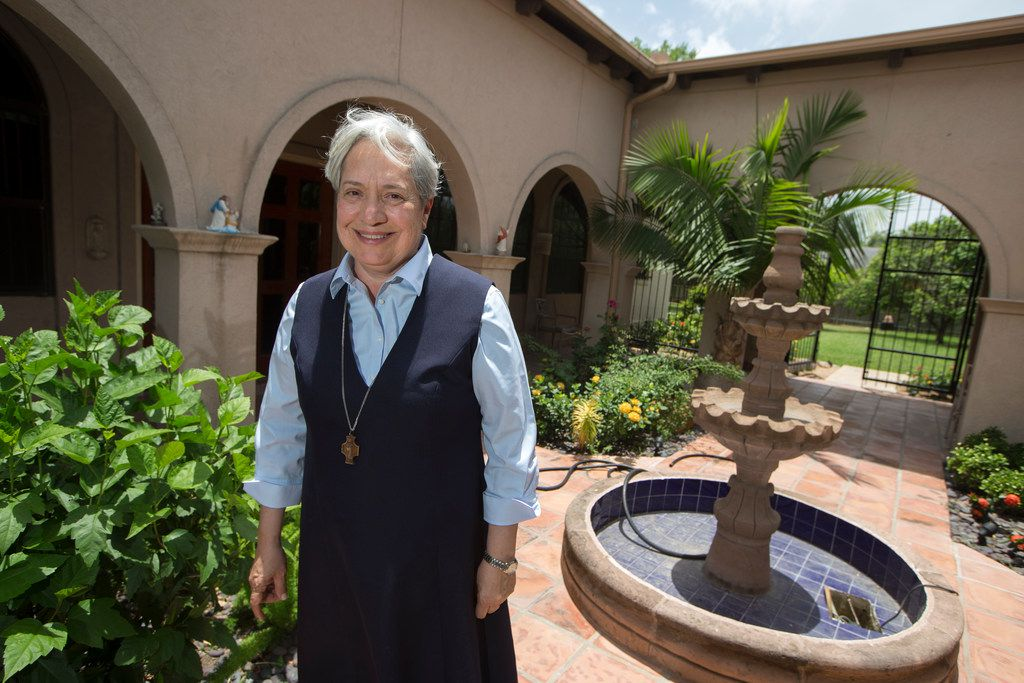 Sister Norma Pimentel on the grounds of the Catholic Shrine to Our Lady of San Juan del Valle, in San Juan, Texas (which is close to McAllen, TX) on June 10, 2018. (Nathan Hunsinger/The Dallas Morning News)