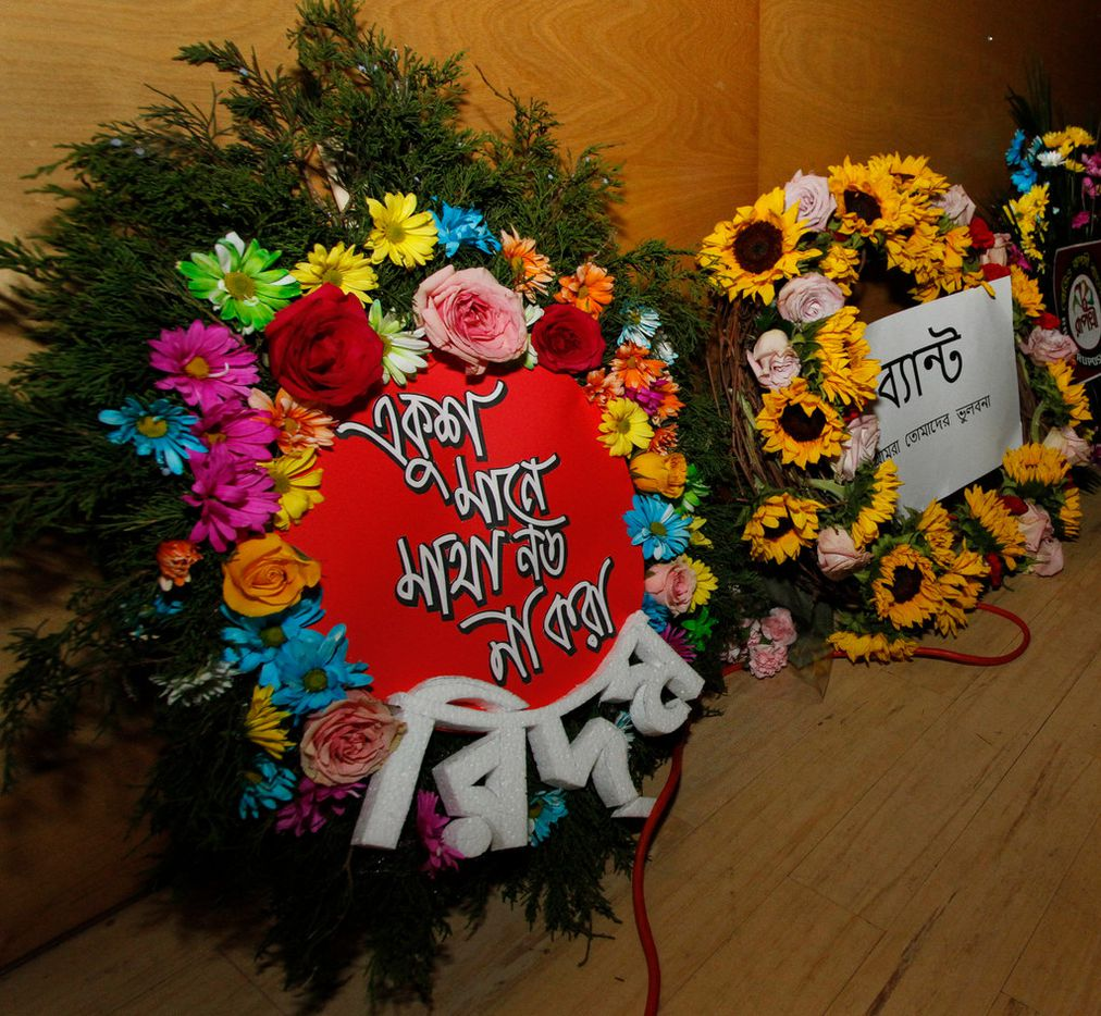 Wreaths bearing messages in Bangla festooned DFW Family Church in Irving last month.