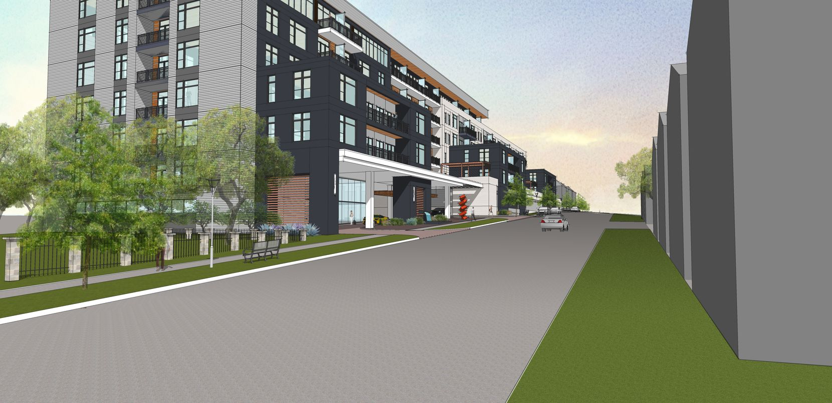 The Drake at White Rock Lake condo building is planned near Tenison Park Golf Course.
