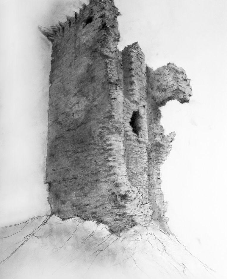Darren Jones, The Black Hound of Glume, 2019, pencil on paper at Conduit Gallery