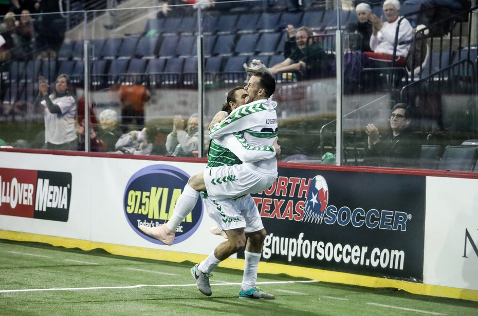Jamie Lovegrove celebrates a goal against El Paso Coyotes during the Sidekicks 2018-19 home opener. (12/15/18)