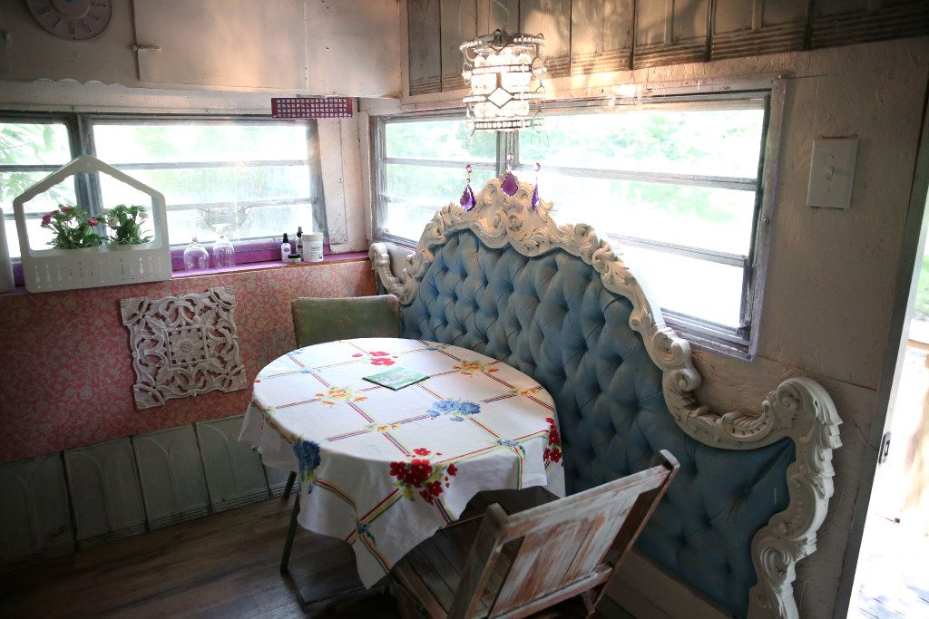 Dining area of Gypsy's Grotto trailer