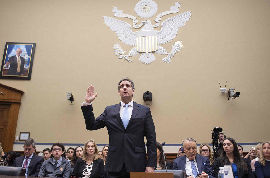Michael Cohen, US President Donald Trump's former personal attorney, is sworn in to testify before the House Oversight and Reform Committee in the Rayburn House Office Building on Capitol Hill in Washington, DC on February 27, 2019.