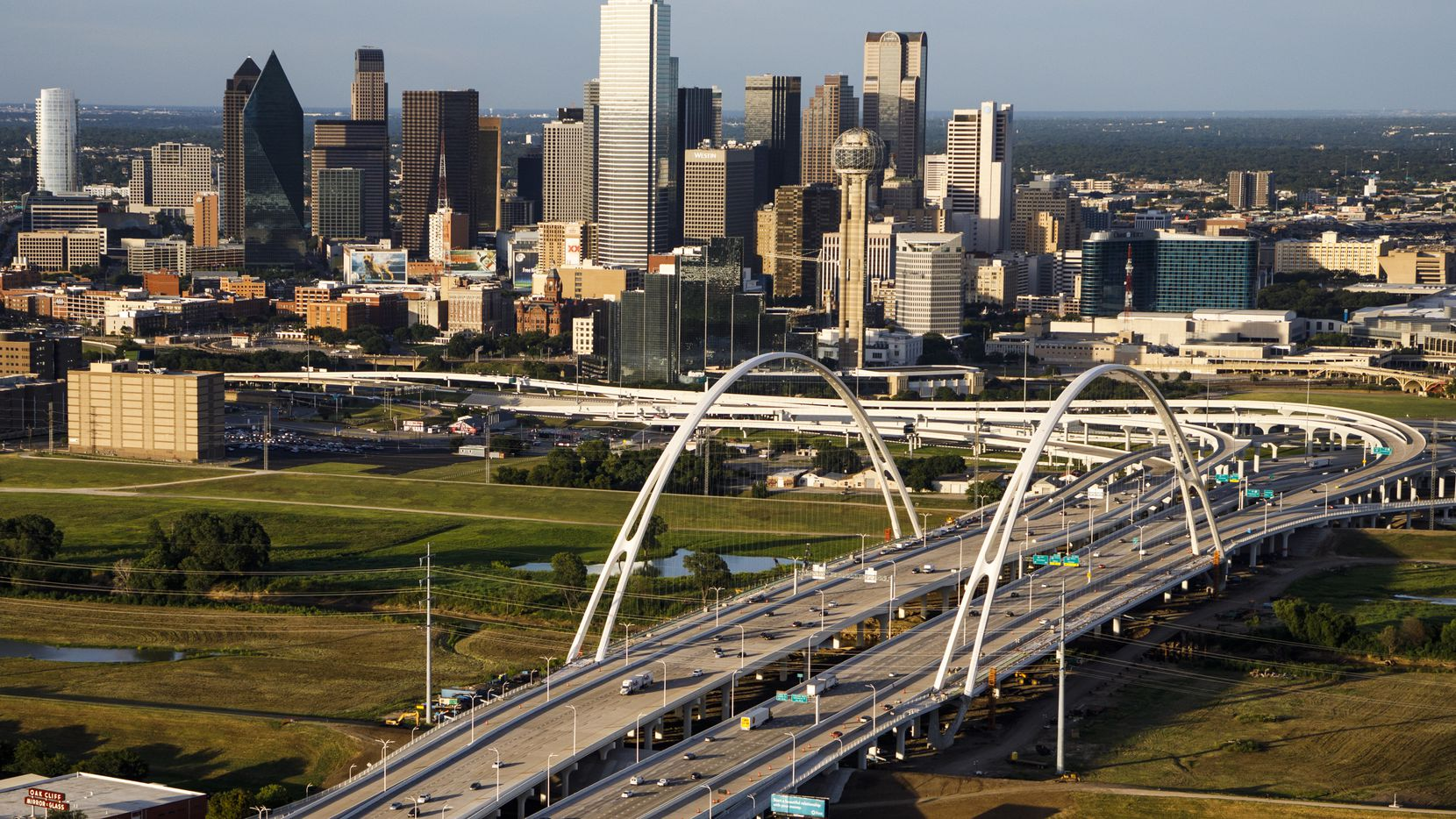 The downtown skyline and Margaret McDermott Bridge photographed on Thursday, July 27, 2017, in Dallas. (Smiley N. Pool/The Dallas Morning News)