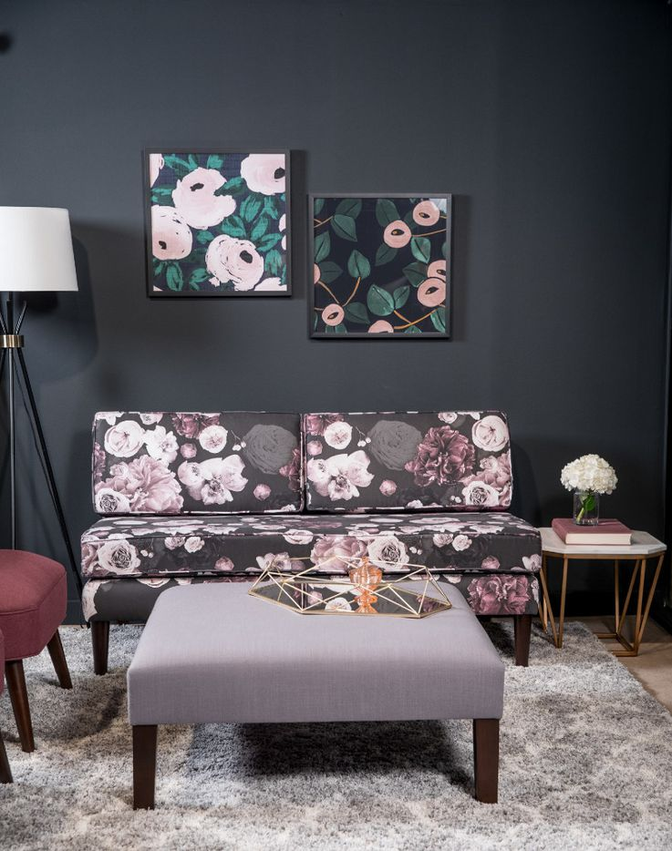 Cloth & Company Apartment Therapy Chaise in Photofloral Icy Black, $1,060, amazon.com
