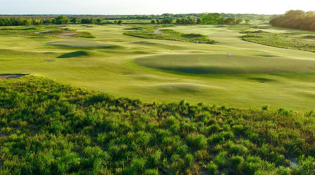The green fairways of Trinity Forest Golf Club in Dallas, which uses new Trinity Zoysia turf grass, developed at Bladerunner Farms in Poteet, Texas.