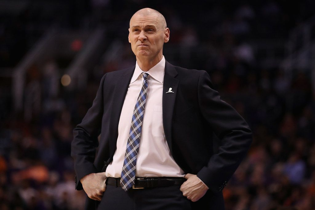 PHOENIX, AZ - JANUARY 31:  Head coach Rick Carlisle of the Dallas Mavericks reacts on the sidelines during the first half of the NBA game against the Phoenix Suns at Talking Stick Resort Arena on January 31, 2018 in Phoenix, Arizona. NOTE TO USER: User expressly acknowledges and agrees that, by downloading and or using this photograph, User is consenting to the terms and conditions of the Getty Images License Agreement.  (Photo by Christian Petersen/Getty Images)