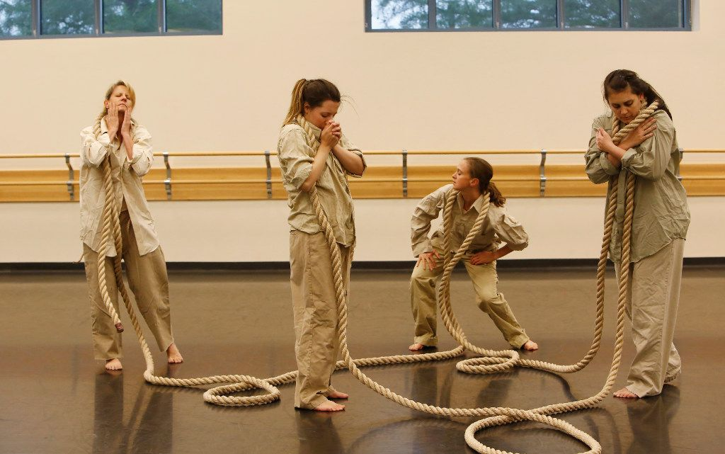 Elledanceworks rehearses deathfugue at Collin College's Spring Creek Campus in Plano on May 22, 2017. From left are Melissa Johnson, Stacey Sparks, Delanie Bitler and Jennifer Torres.