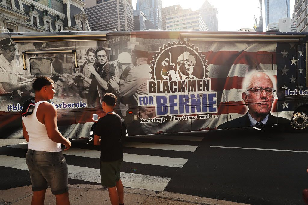 A bus bearing a message supporting Bernie Sanders rolled through downtown Philadelphia before the start of the Democratic National Convention. (Spencer Platt/Getty Images)