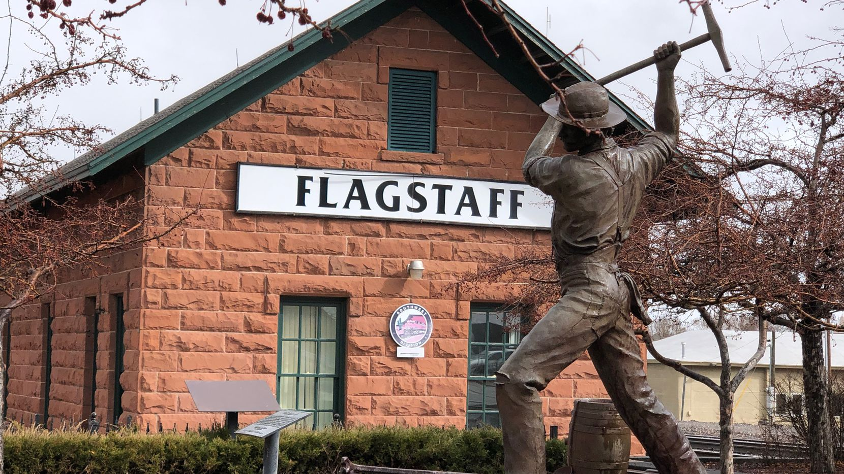 The historic train station in downtown Flagstaff.