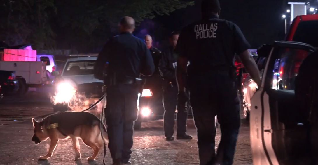 Dallas police officers investigated a shooting Wednesday night in Buckner Terrace.