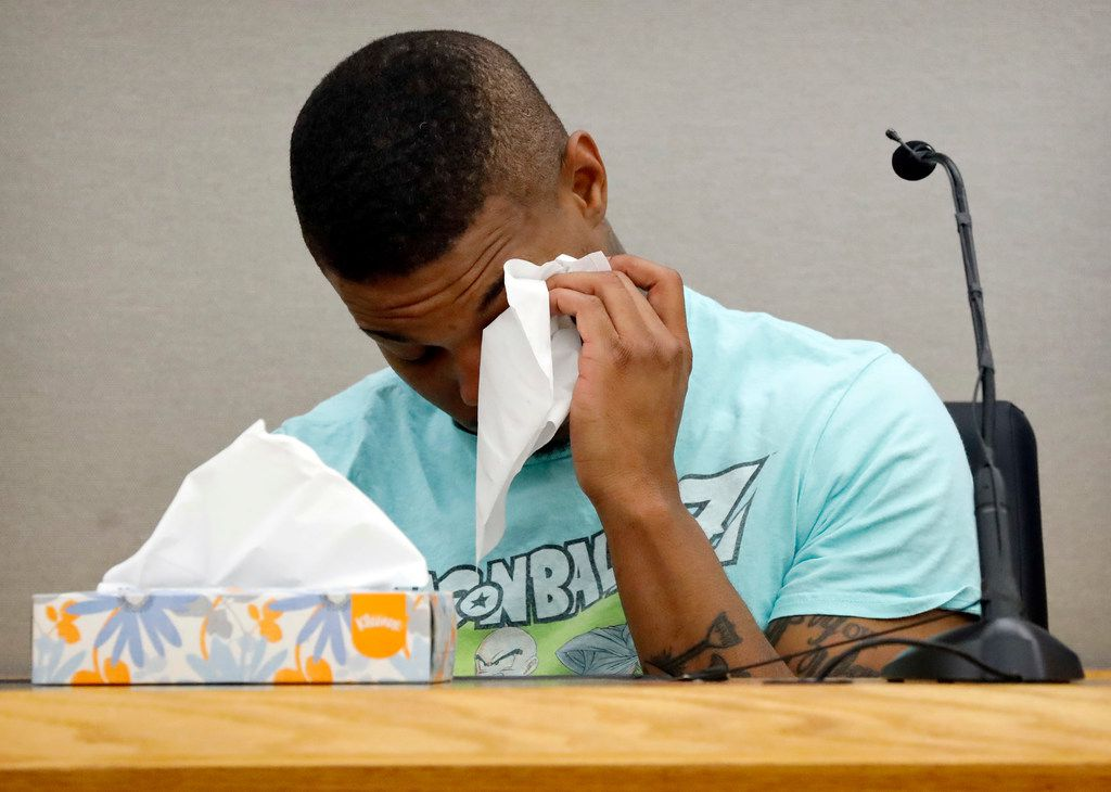 Joshua Brown wept on the witness stand while testifying about his neighbor Botham Jean.