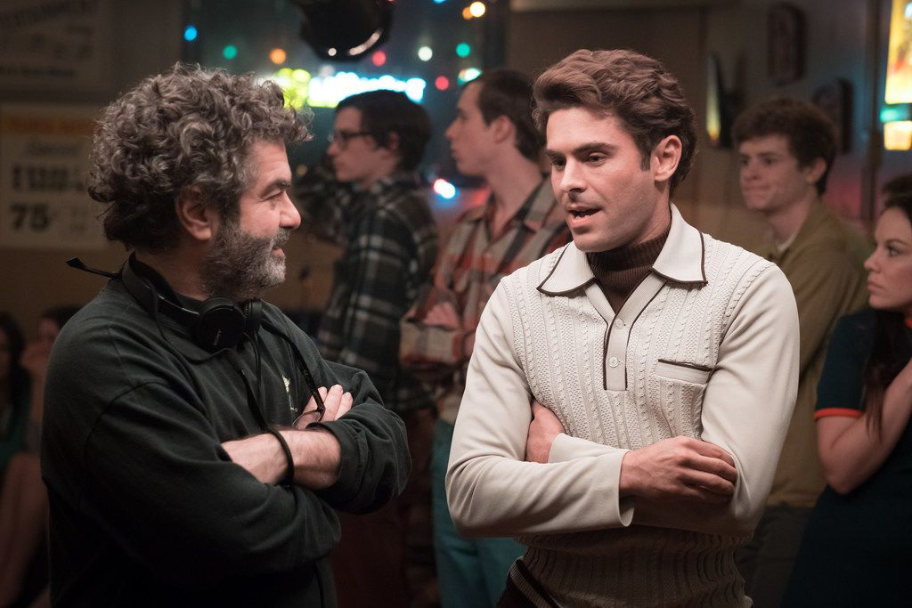 Joe Berlinger, left, the director and producer of Extremely Wicked, Shockingly Evil, and Vile, and on the right, its star, Zac Efron, who plays serial killer Ted Bundy.