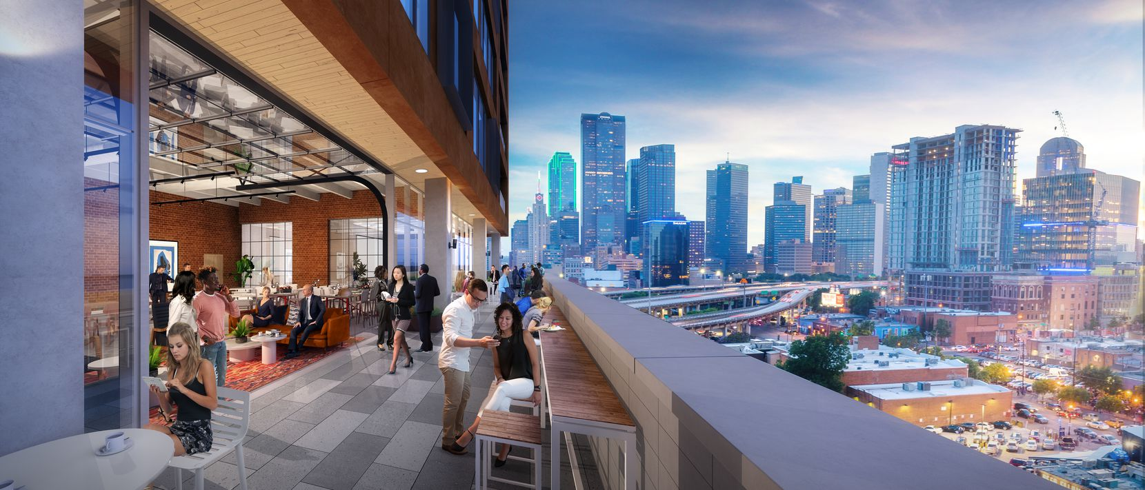 An upper floor terrace in the building overlooks downtown Dallas.