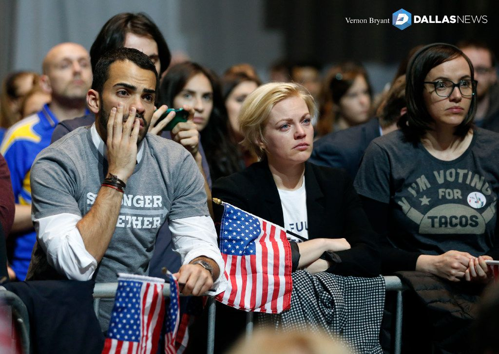 Supporters react as results come in at an election night party for Democratic presidential candidate Hillary Clinton at the Jacob K. Javits Convention Center in New York City on Tuesday, November 8, 2016. (Vernon Bryant/The Dallas Morning News)