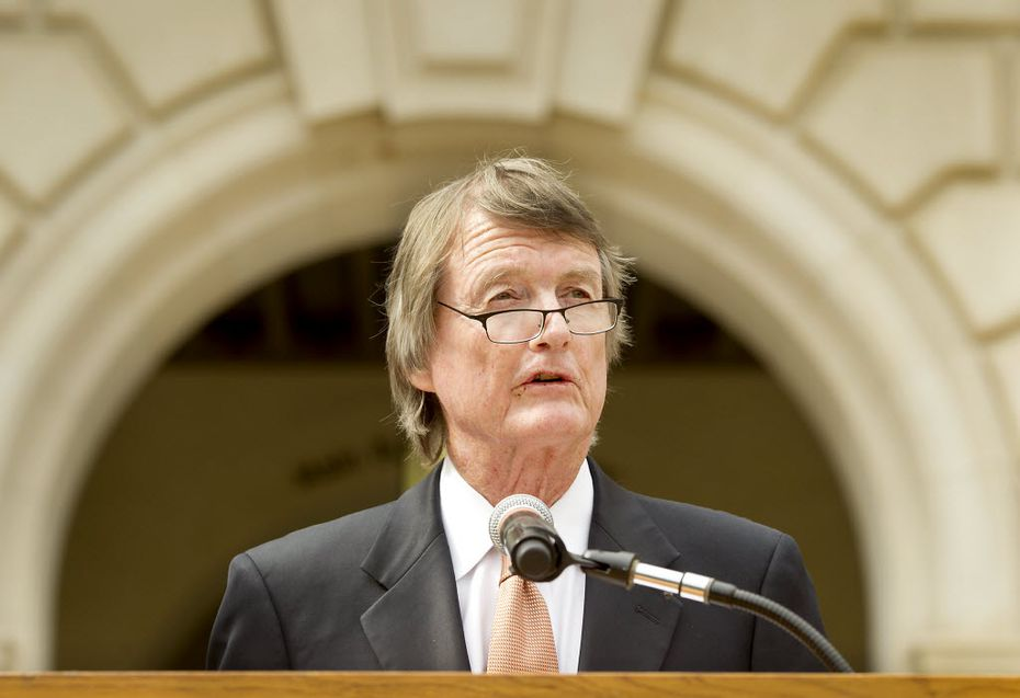 University of Texas President Bill Powers spoke to the media on July 15, 2014, on the south steps of the Main Tower in Austin.