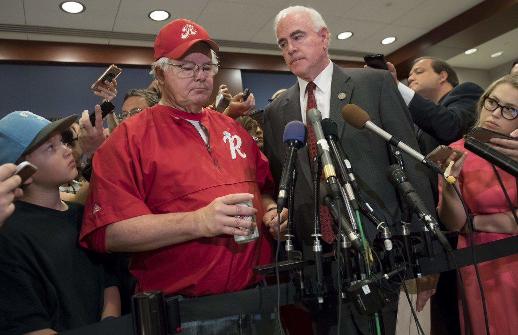 Rep. Joe Barton (left), R-Ennis and manager of the House Republican baseball team, and Rep. Pat Meehan, R-Pa., speak to the media after returning to the U.S. Capitol from a shooting incident during a baseball practice.