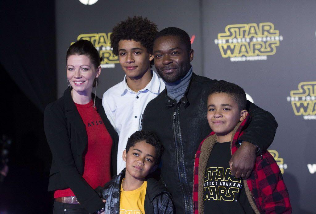 """Actors Jessica Oyelowo, David Oyelowo and family attend the World Premiere of """"Star Wars: The Force Awakens"""", in Hollywood, California, on December 14, 2015."""