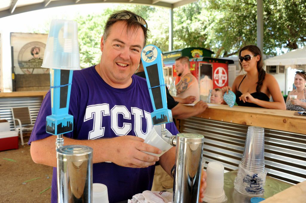 Steve Coburn pours a glass of Real Good beer by Panther Island Brewing at Sunday Funday.