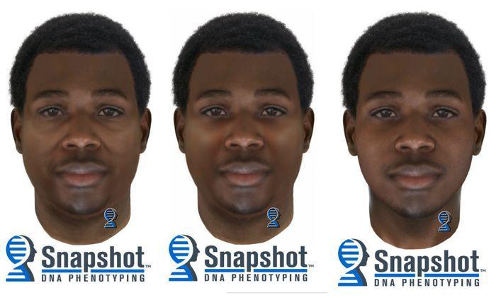 Estos son retratos del sospechoso en la muerte de Raymond Hernández a partir de una prueba de ADN.