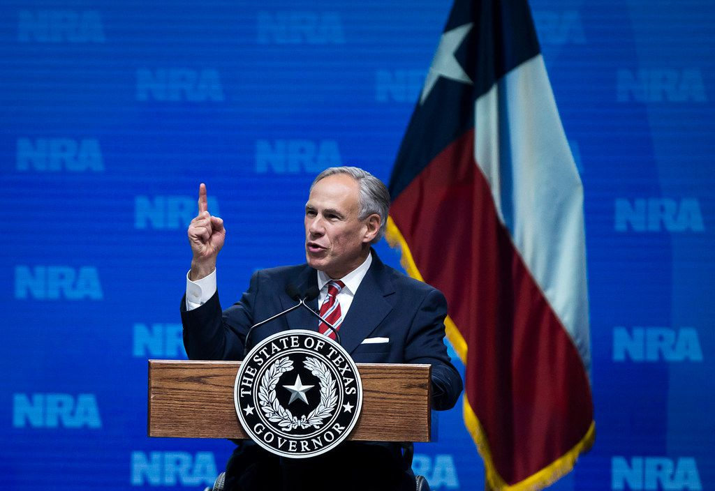 Texas Gov. Greg Abbott addresses the NRA-ILA Leadership Forum at the Kay Bailey Hutchison Convention Center on May 4, 2018, in Dallas.
