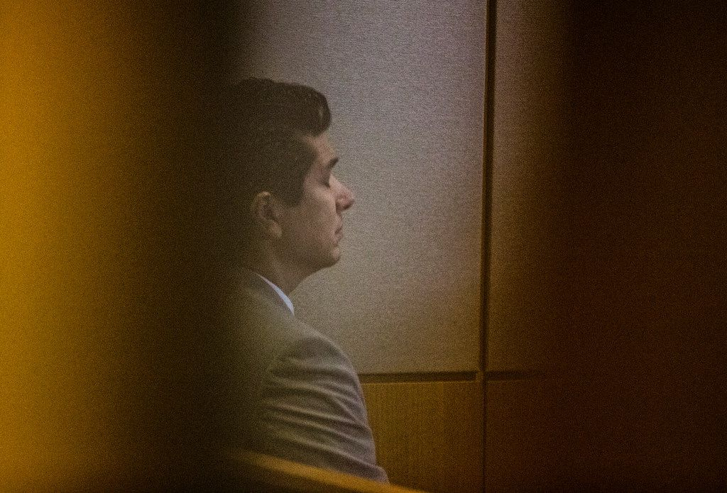 Ricardo Paniagua listens during the punishment phase of a capital murder trial for Kristopher Love on Oct. 29, 2018 at the Frank Crowley Courts Building in Dallas. The fatal shooting was allegedly orchestrated by jilted lover Brenda Delgado who was jealous Hatcher was dating Paniagua, Delgado's ex-boyfriend. Love was convicted in the 2015 murder of pediatric dentist Kendra Hatcher. He could face the death penalty.