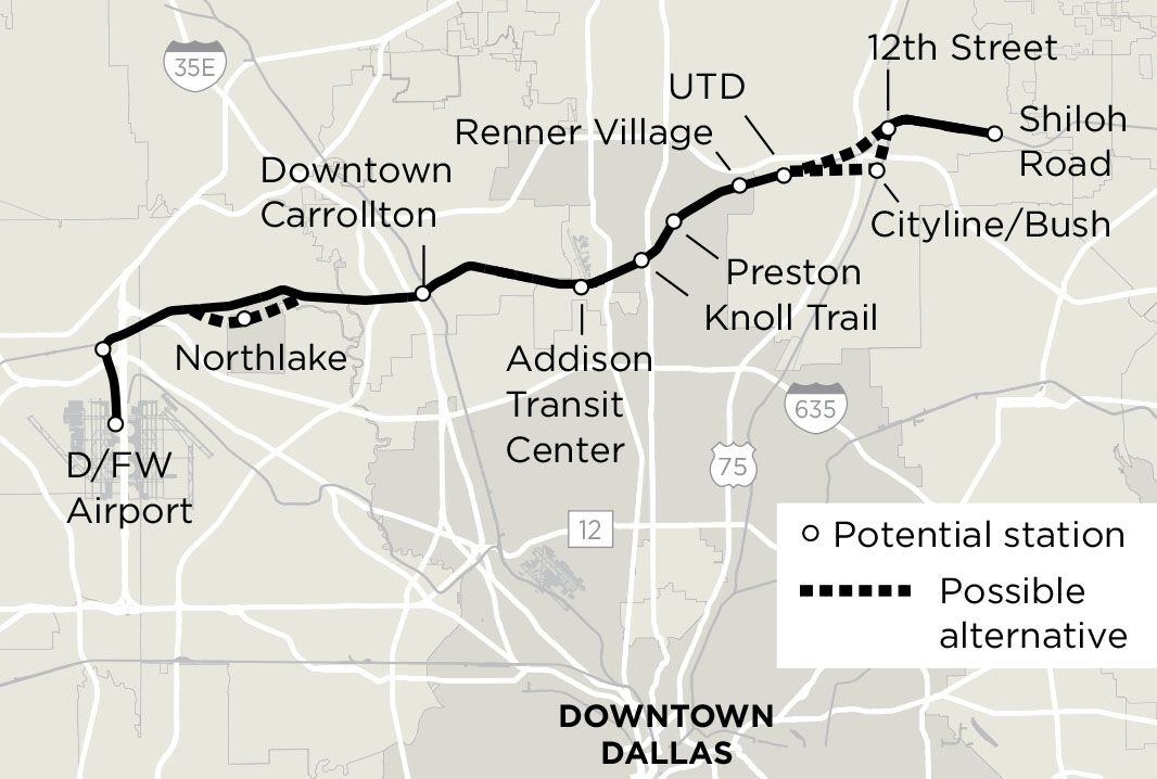 Plans for the Cotton Belt line would run trains from DFW International to eastern Plano. Some, though, would prefer bus rapid transit on the route.