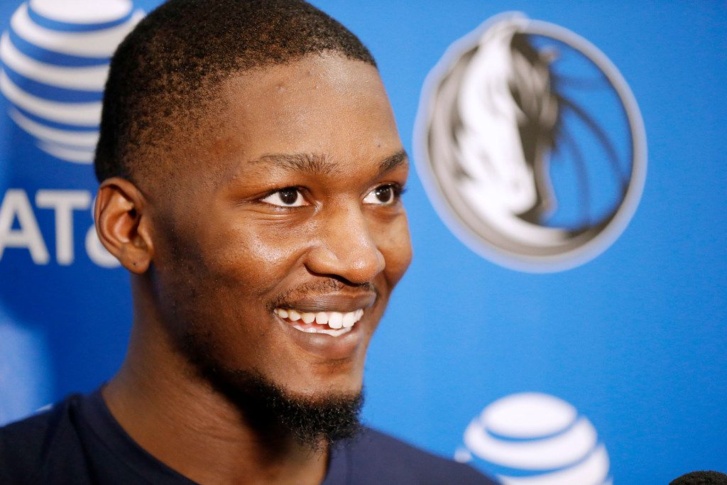 Dallas Mavericks' Dorian Finney-Smith speaks to the media at the end of a practice at the Mavs practice facility in Dallas, Wednesday, July 4, 2018. (Brandon Wade/Special Contributor)