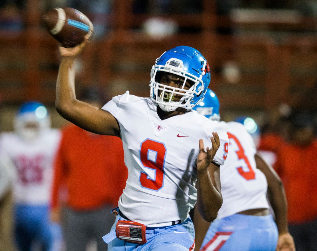 Skyline quarterback Darryl Richardson (9) throws a pass during the first quarter of a high school football game between Skyline and Duncanville on Friday, October 4, 2019 at Panther Stadium in Duncanville. (Ashley Landis/The Dallas Morning News)