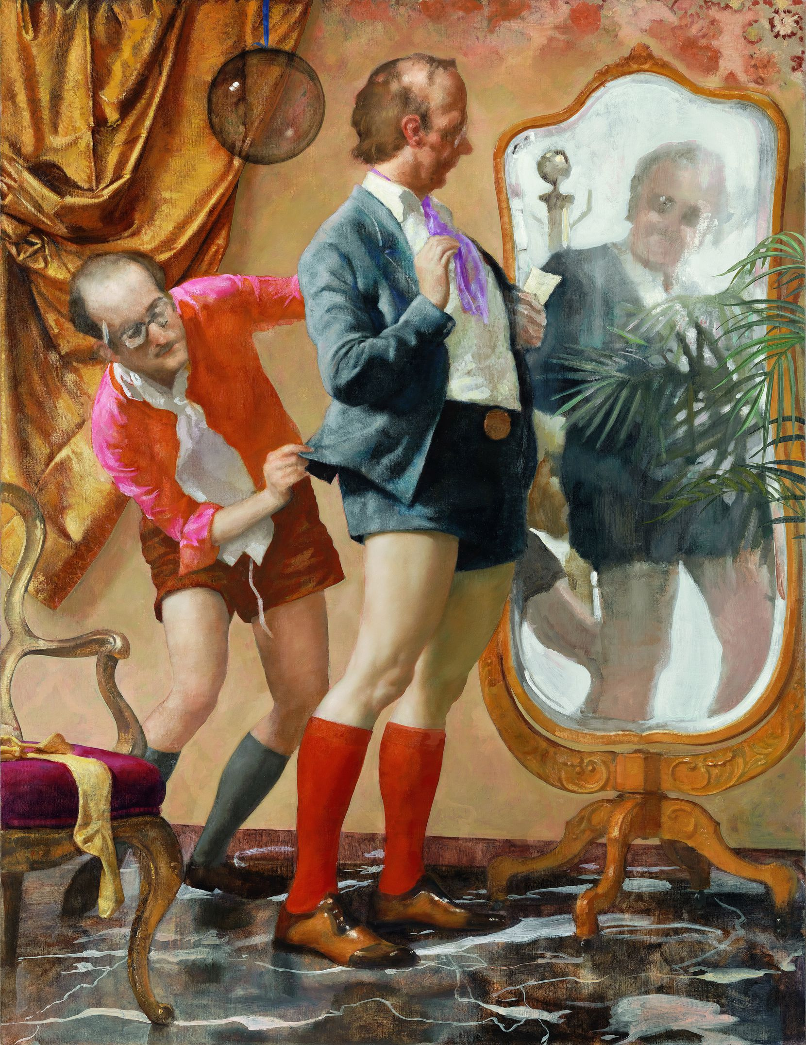"""John Currin's """"Hot Pants"""" from 2010 plays with views of the male image. (Oil on canvas, 78 x 60 inches.) This work is on display in the 2019 exhibition """"My Life as a Man"""" at the Dallas Contemporary."""
