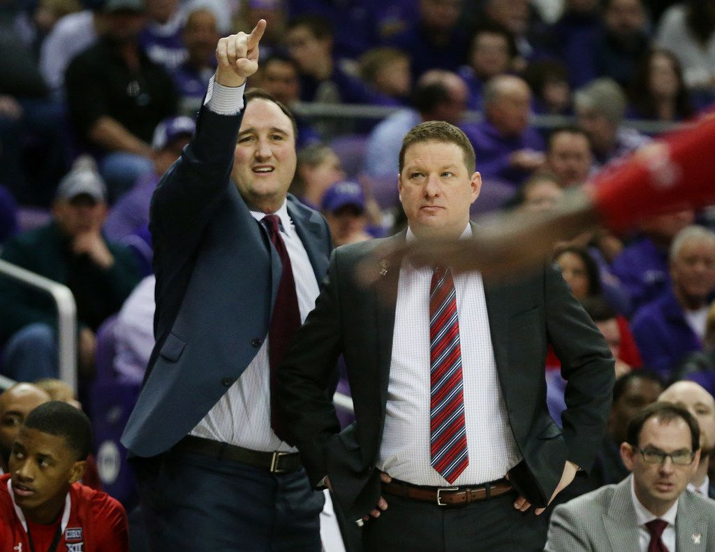 Texas Tech assistant coach Chris Ogden (left) stands near head coach Chris Beard in the first half of an NCAA basketball game between Texas Tech and TCU at Schollmaier Arena in Fort Worth, Texas Saturday February 3, 2018. Texas Tech led TCU 48-24 at halftime. (Andy Jacobsohn/The Dallas Morning News)