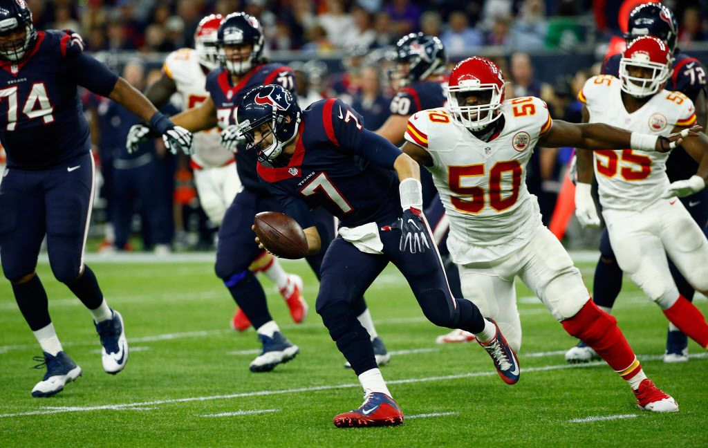 HOUSTON, TX - JANUARY 09: Quarterback Brian Hoyer #7 of the Houston Texans scrambles against Justin Houston #50 of the Kansas City Chiefs in the third quarter during the AFC Wild Card Playoff game at NRG Stadium on January 9, 2016 in Houston, Texas.  (Photo by Scott Halleran/Getty Images)