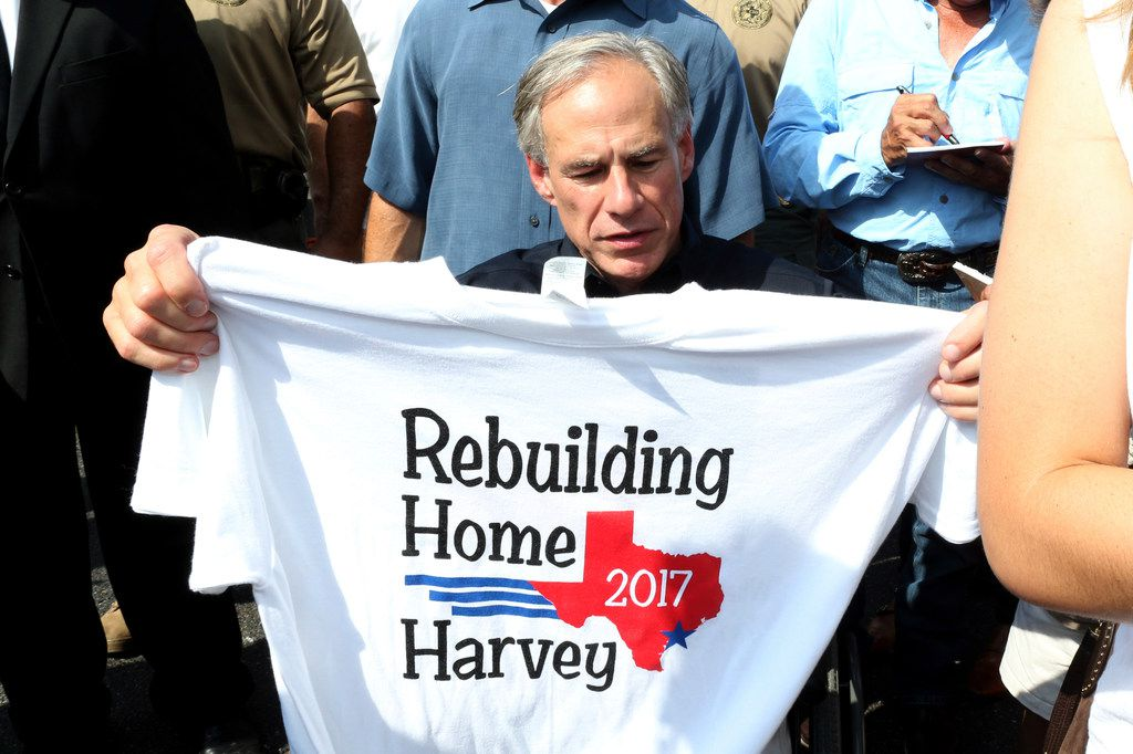 Texas Gov. Greg Abbott was in Rockport on Sept. 21 and visited with people affected by Hurricane Harvey.