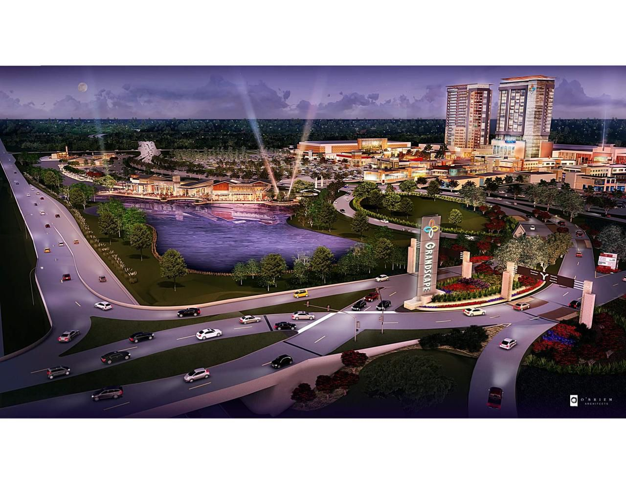 An artist's rendering of a nearly $6 million restaurant/live entertainment venue planned for the sprawling Grandscape development that's now home to Nebraska Furniture Mart.