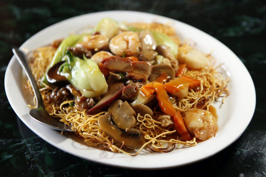 Pan-fried thin egg noodles with shrimp, pork and vegetables