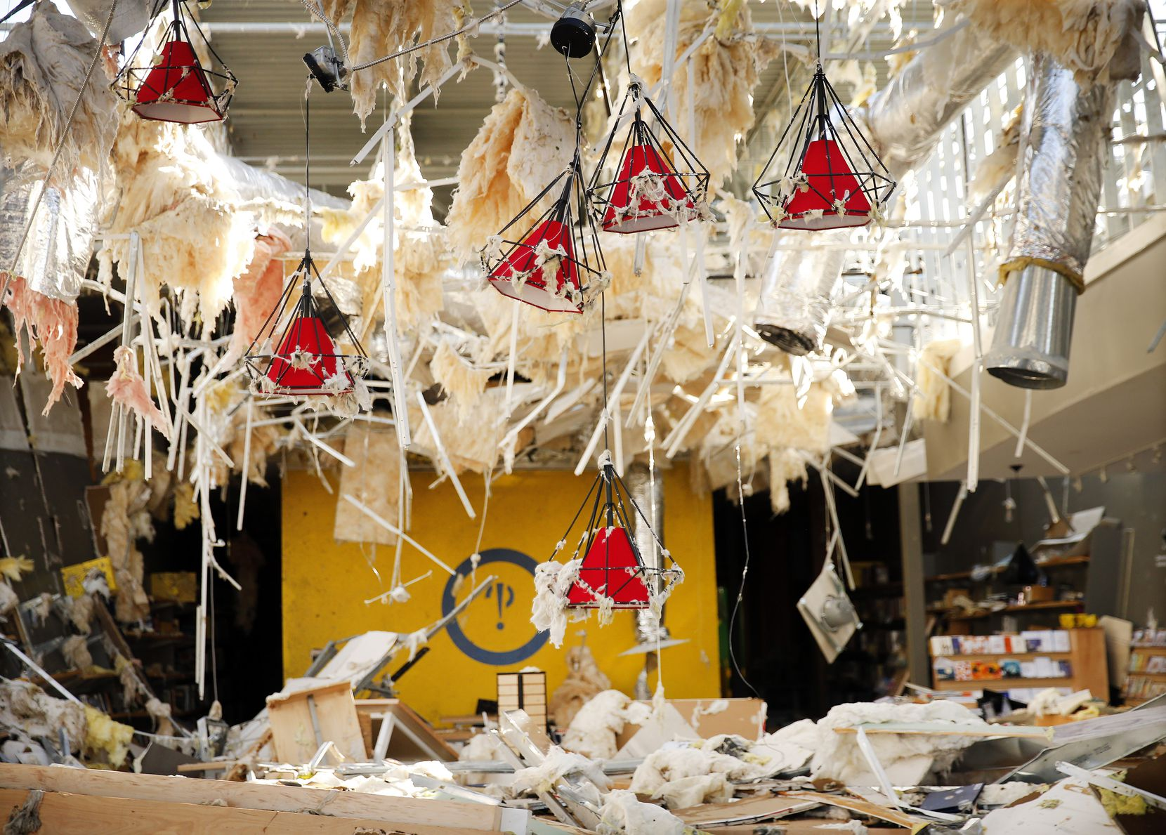 The interior of the Interabang Books store was demolished Sunday by a tornado in the Preston Royal shopping center in Dallas.