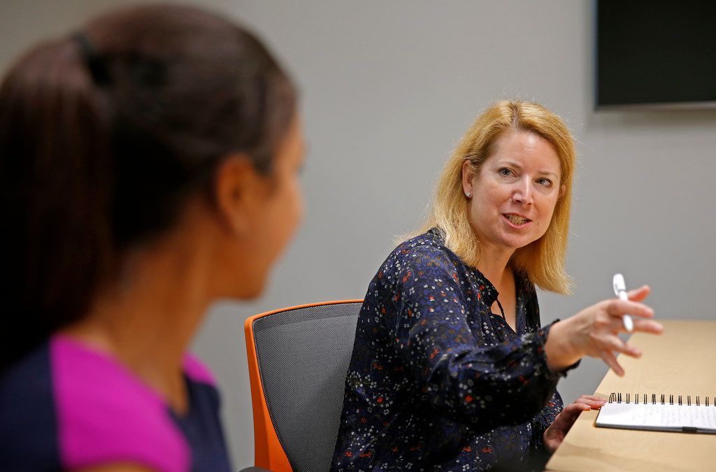 Golden Seeds Managing Director Laura Baldwin (right) asks questions to Srishti Goel, who presents her idea in the meeting, on the University of Texas at Dallas campus in Richardson, Texas, Tuesday, Sept. 26, 2017. Baldwin is one of directors who lead the Texas chapter of Golden Seeds, an early-stage investment firm by women and for women. (Jae S. Lee/The Dallas Morning News)