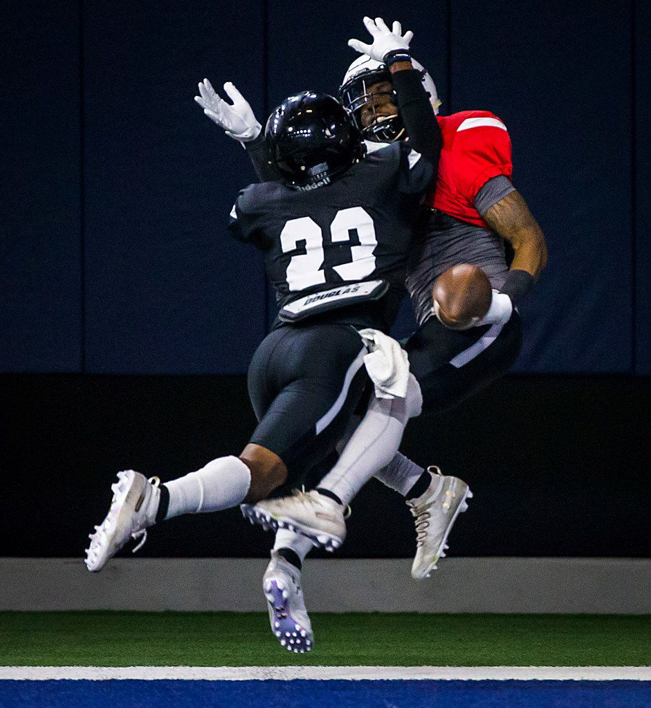 Texas Tech defensive back Damarcus Fields (23) breaks up a pass intended for wide receiver Quan Shorts during the Red Raiders' spring scrimmage at the Star on Saturday, April 7, 2018, in Frisco. (Smiley N. Pool/The Dallas Morning News)
