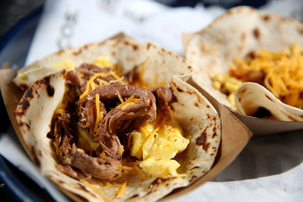 The brisket, egg and cheese taco photographed at Rusty Taco in Dallas on Wednesday, July 19, 2017. (Rose Baca/The Dallas Morning News)
