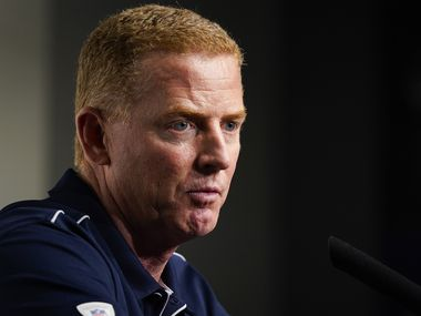 Dallas Cowboys head coach Jason Garrett addresses the media after a loss to the Buffalo Bills in an NFL football game at AT&T Stadium on Thursday, Nov. 28, 2019, in Arlington. (Smiley N. Pool/The Dallas Morning News)