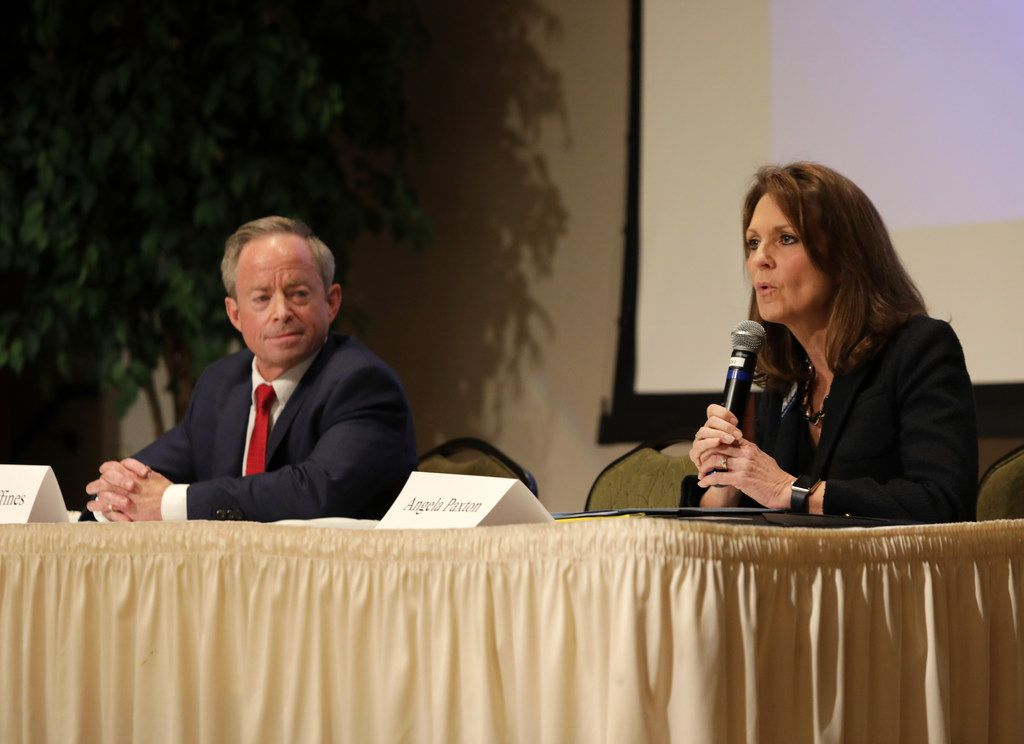 Candidates Phillip Huffines and Angela Paxton discuss their policies during a Republican Club legislative forum at Heritage Ranch Golf and Country Club in Fairview on Jan. 8, 2018.