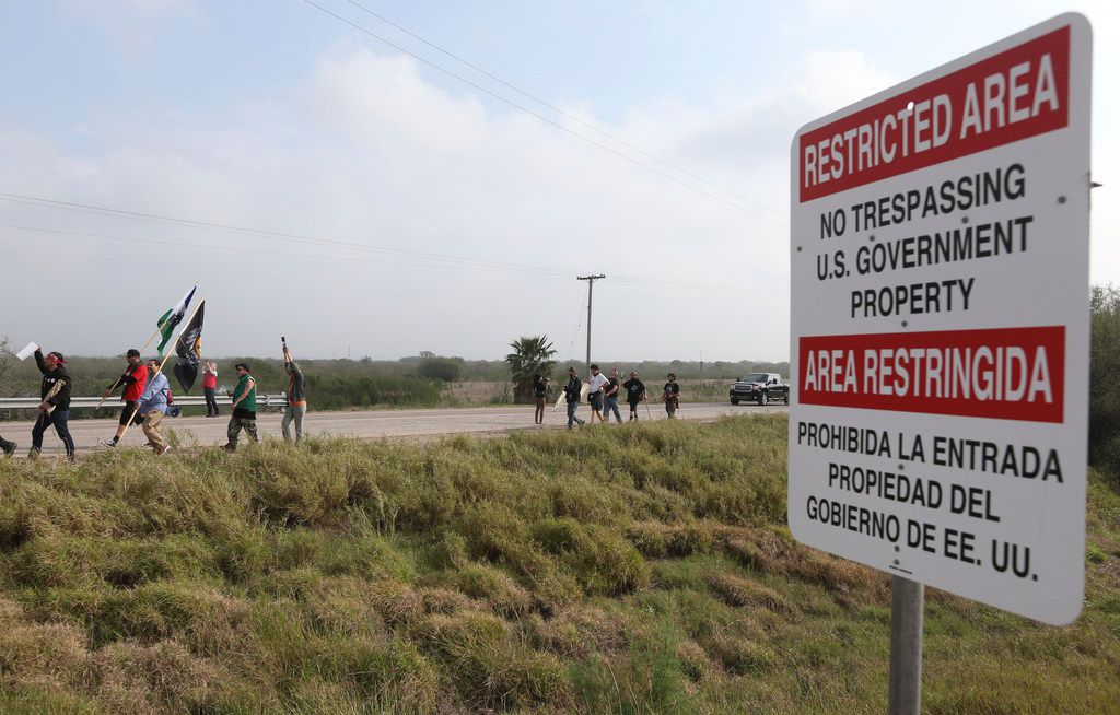 Members of the Carrizo/Comecrudo Tribe along with other opponents of wall construction convened near the river and made their way about 3 miles down to the National Butterfly Center to march in protest on Monday, Feb.4, 2019, in Mission.