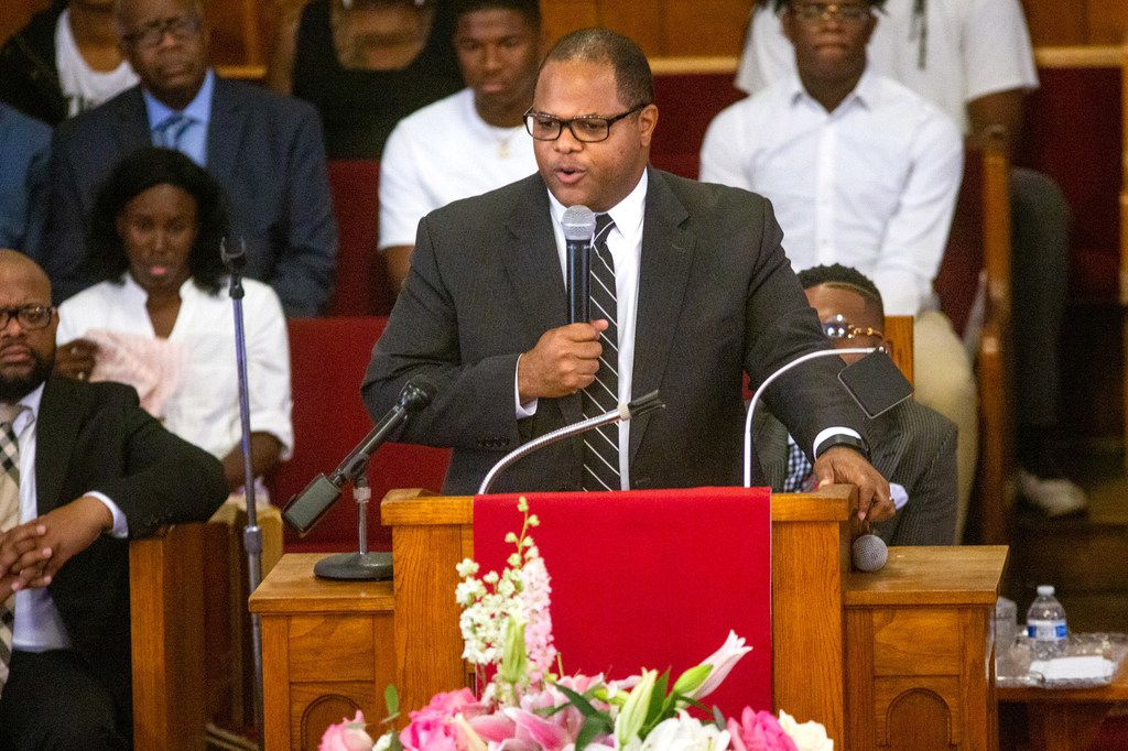 """""""Brandoniya's death can't have occurred in vain,"""" Dallas Mayor Eric Johnson speaks at Friday's funeral at New Morning Star Missionary Baptist Church."""